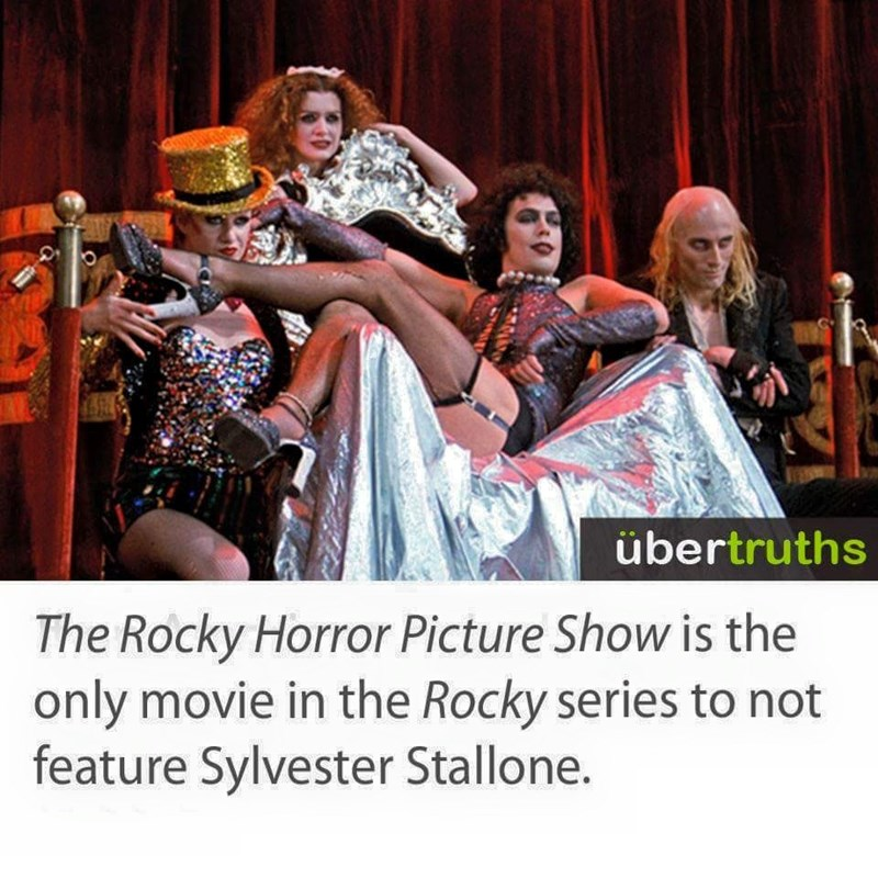 Funny meme saying that Rocky Horror Picture Show is not the only Rocky movie that doesn't star Sylvester Stallone.