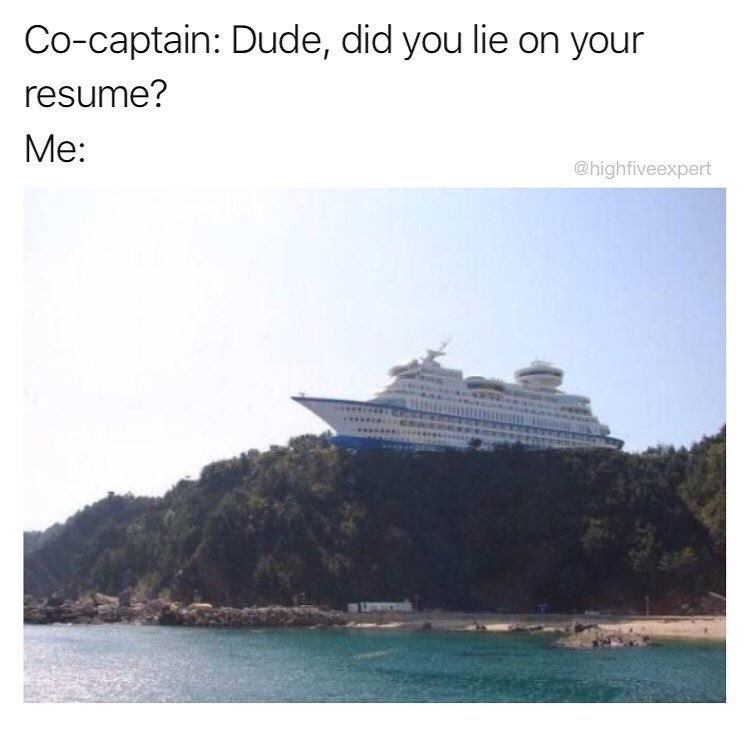 Funny meme asking boat person if they lied on their resume, image of a boat on top of a mountain.