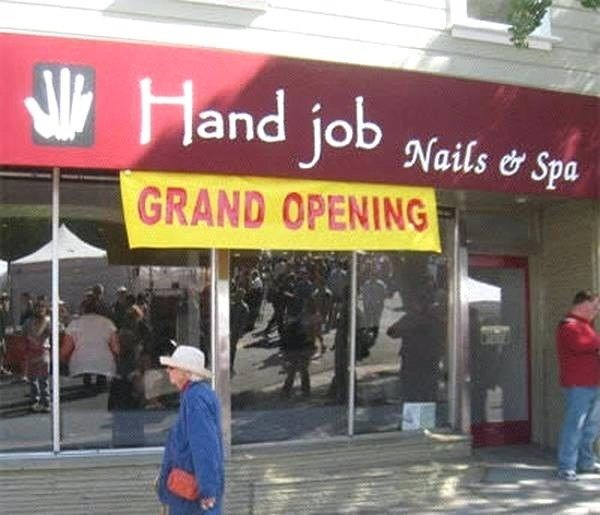funny business names - Building - Hand job Nails & Spa GRAND OPENING