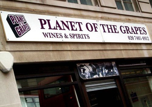 funny business names - Font - PUANE GRAPLANET OF THE GRAPES WINES&SPIRITS 020 7405 4912