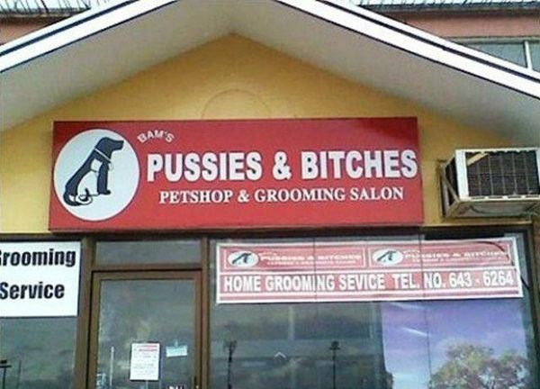funny business names - Signage - BAM'S PUSSIES & BITCHES PETSHOP&GROOMING SALON rooming Service HOME GROOMING SEVICE TEL. NO.643 6264