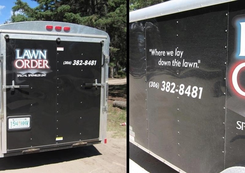 """funny business names - Vehicle - """"Where we lay down the lawn"""" LAWN ORDER (306) 382-8481 SPECIAL SPRINKLER LNIT (306)382-8481 SF 154 HHV"""