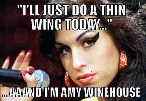 Meme about how eyeliner is just something that happens - pic of Amy Winehouse