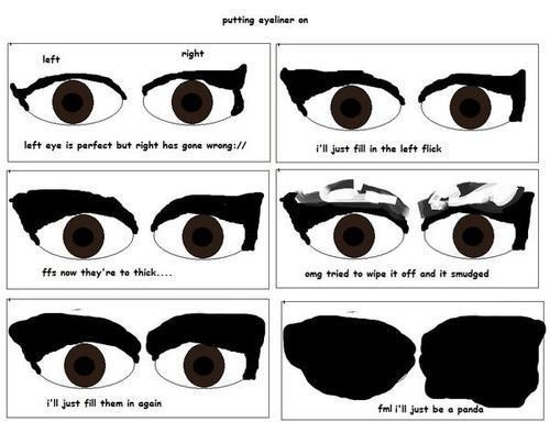 Eyeliner meme about how to put on more to get it right till you ruin it.