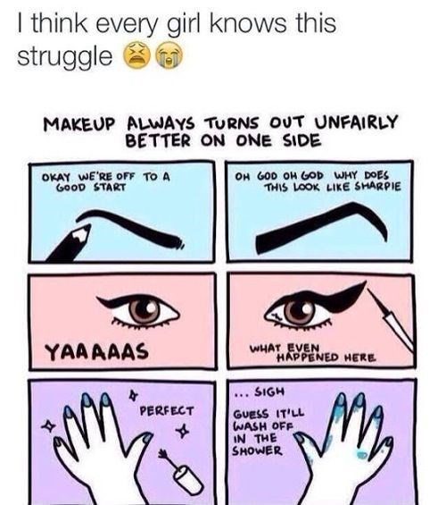 Meme about the struggle of getting make up evenly applied.