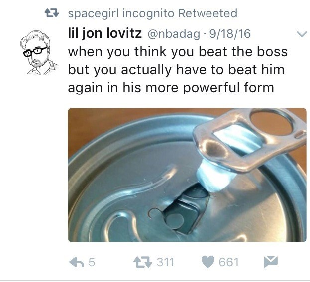 Funny tweet with picture of defective can comparing it to the final boss in a video game