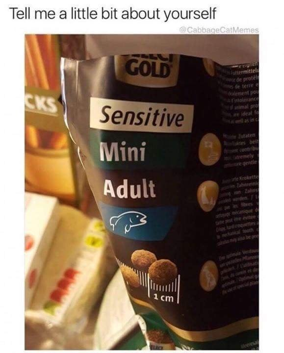 Funyn meme about how you describe yourself, image is of a pet food bag that says sensitive mini adults.