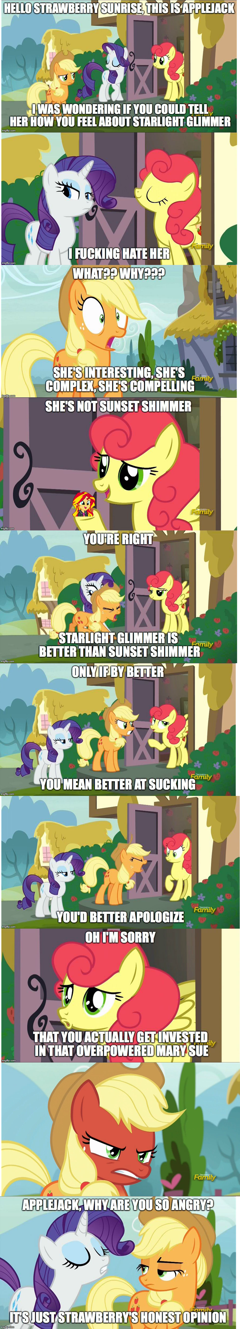 applejack Bronies starlight glimmer screencap honest apple rarity comic sunset shimmer strawberry sunrise - 9041394176