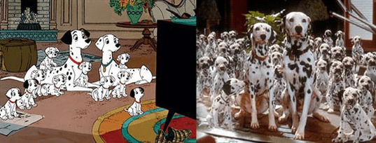 Hundreds of Dalmatians and puppies in real life.