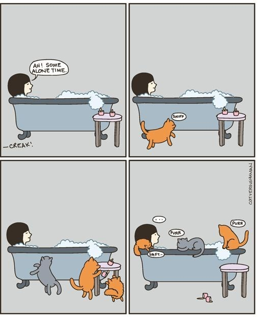 Cartoon about some alone time in the bath which is ruined by your cats.