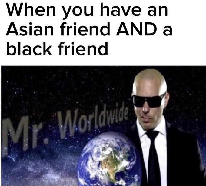 meme - Text - When you have an Asian friend AND a black friend Mr. Worldwise