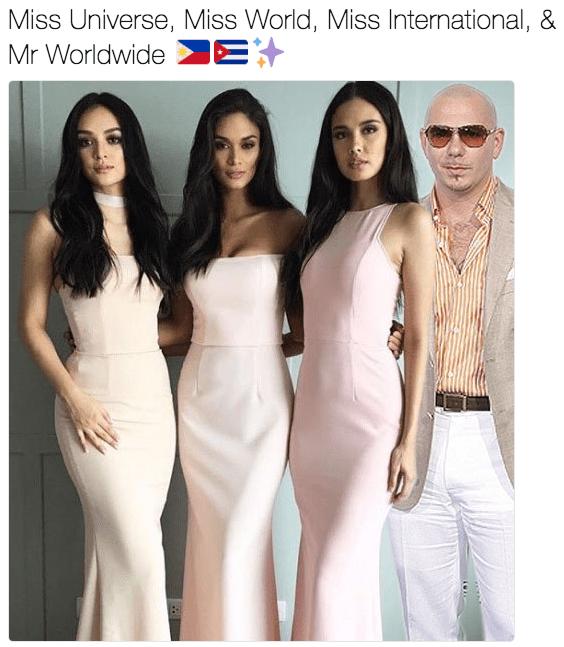 meme - White - Miss Universe, Miss World, Miss International, & E Mr Worldwide