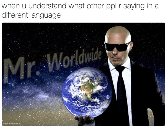 meme - Earth - when u understand what other ppl r saying in a different language Mr. Worldwide Made By Paula K