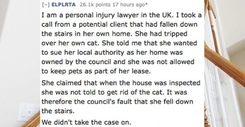 Text - [-] ELPLRTA 26.1k points 17 hours ago* I am a personal injury lawyer in the UK. I took a call from a potential client that had fallen down the stairs in her own home. She had tripped over her own cat. She told me that she wanted to sue her local authority as her home was owned by the council and she was not allowed to keep pets as part of her lease. She claimed that when the house was inspected she was not told to get rid of the cat. It was therefore the council's fault that she fell down