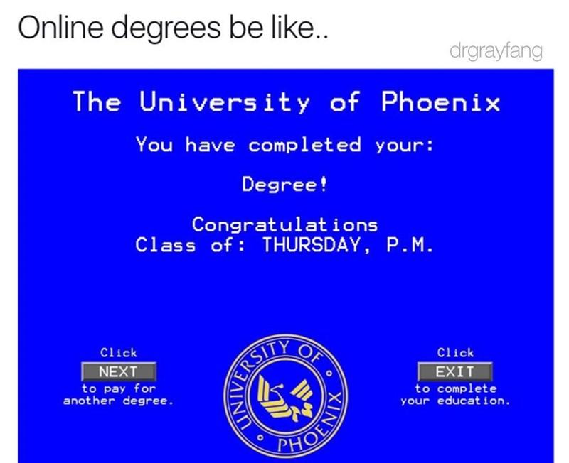 best meme of how online diplomas look like