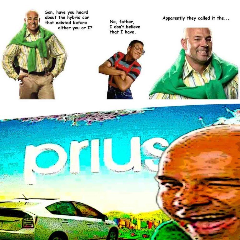 Funny meme with a dad joke, dad asks son if he's heard of a hybrid car that came before either of them, son says no, dad says it is called a Prius. The joke is that it is Pre-us.