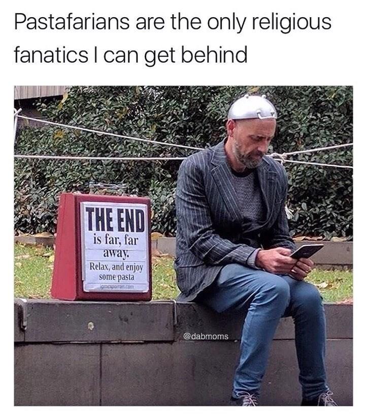 Funny meme in praise of the religion pastafarianism.