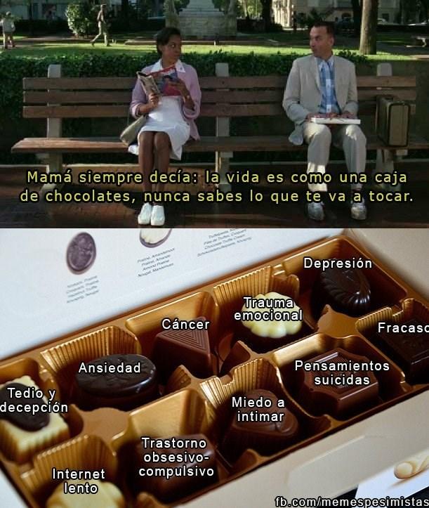 en la vida podemos hacerle paralelo con la caja de chocolates