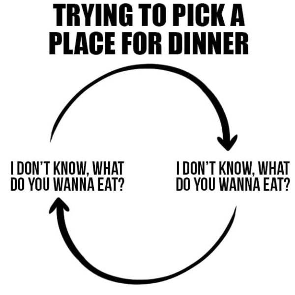 Text - TRYING TO PICK A PLACE FOR DINNER I DON'T KNOW, WHAT DO YOU WANNA EAT? IDON'T KNOW, WHAT DO YOU WANNA EAT?