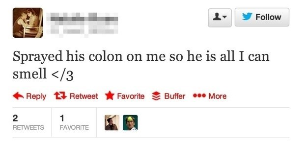 Tweet in which girl spells Cologne as Colon and is smelling her boyfriends COLON all day long.