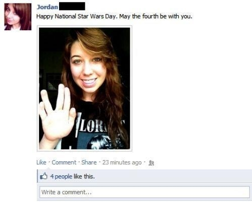 Girl wishing everyone a happy Star Wars day and giving the Vulcan salute.