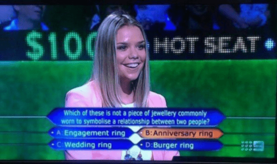Contestant on who wants to be a millionaire give such an obviously wrong answer as her final choice.