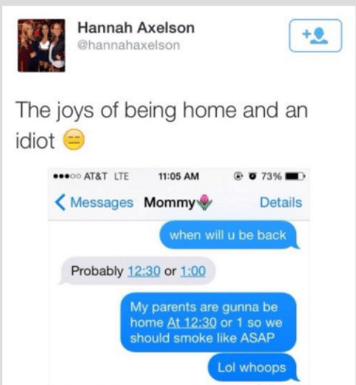Girl texting her mom about when she will be back and then sends message to her friend about smoking, not realizing it is her parents.