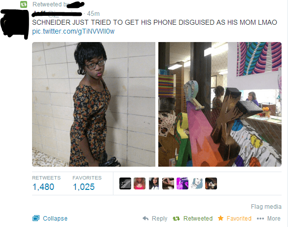 Dude tries to get his phone dressed up as him mom at school.