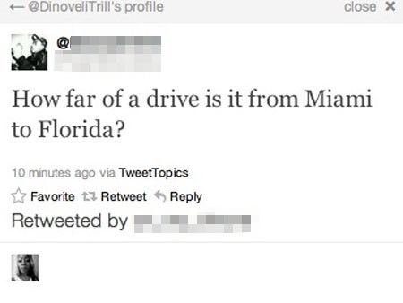 Tweet of someone asking how far is it from Miami to Florida