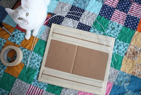 Cat looking at camera, with tape next to his feed, cardboard made into a cushion and those hangers taken apart and made into wire.