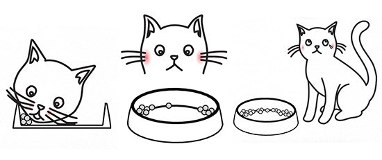 Draft sketch showing a 'Whisker Friendly' design for a cat food bowl