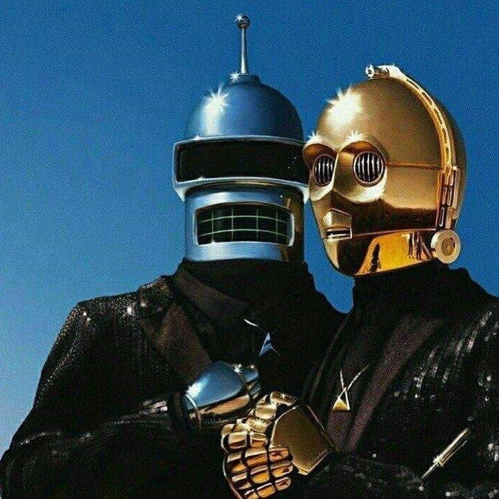 Funny picture that is supposed to be daft punk but the heads are Bender from Futurama and C-3PO from Star Wars.