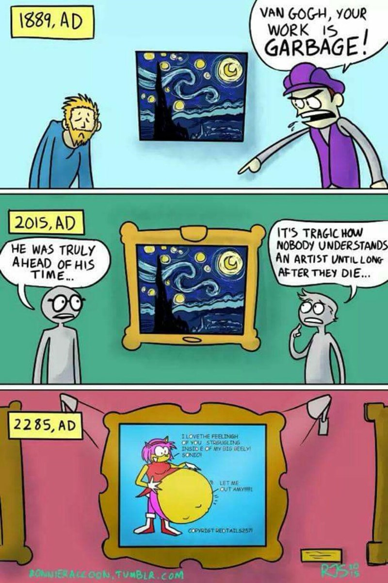 funny web comic about how artists are never appreciated until after they are dead, fast forward to the future, a depiction of a sonic-looking creature in a comic being in a museum.