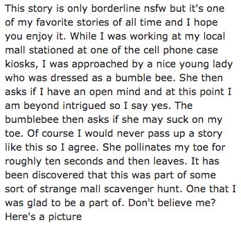 Text - This story is only borderline nsfw but it's one of my favorite stories of all time and I hope you enjoy it. While I was working at my local mall stationed at one of the cell phone case kiosks, I was approached by a nice young lady who was dressed as a bumble bee. She then asks if I have an open mind and at this point I am beyond intrigued so I say yes. The bumblebee then asks if she may suck on my toe. Of course I would never pass up a story like this so I agree. She pollinates my toe for