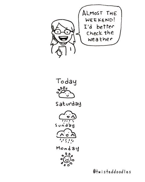 Text - ALMOST THE WEEKEND! I'd better Check the wea ther Today Saturday Sunday Monday twisteddoodles
