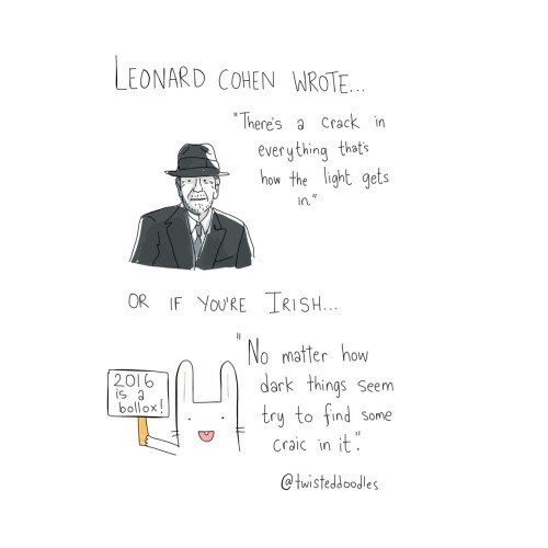 """Text - LEONARD COHEN WROTE... There's a Crack in everything thats how the light gets in"""" OR IF YoU'RE TRISH... No matter how dark things 2016 is a bollox! Seem try to find Craic in it Some @twisteddoodles"""