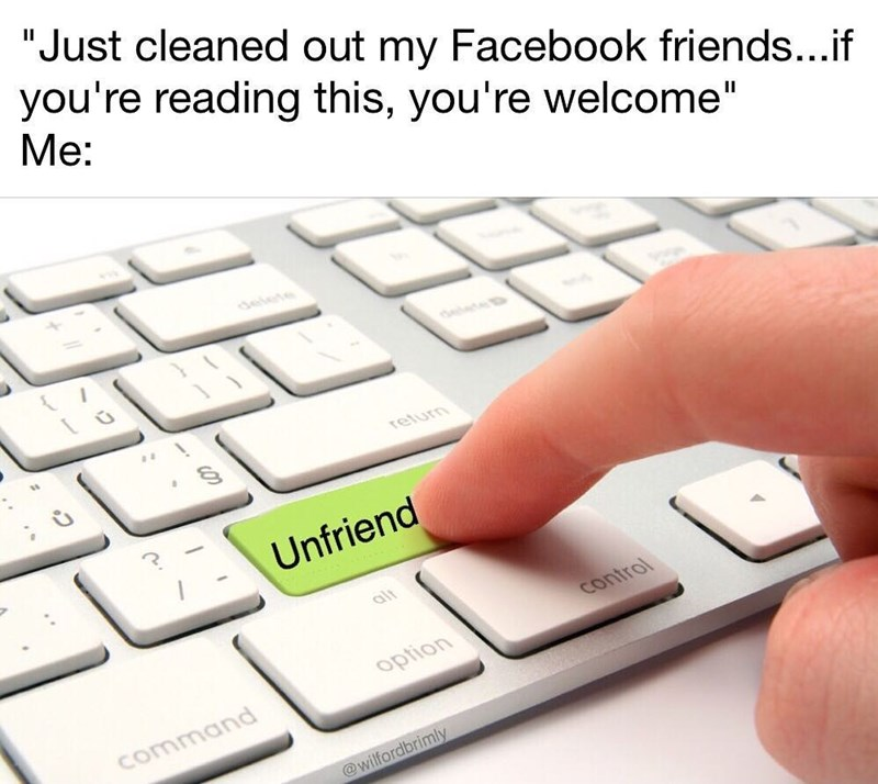 Funny meme about when people announce that they have deleted people from their friends list, an annoying thing to do.