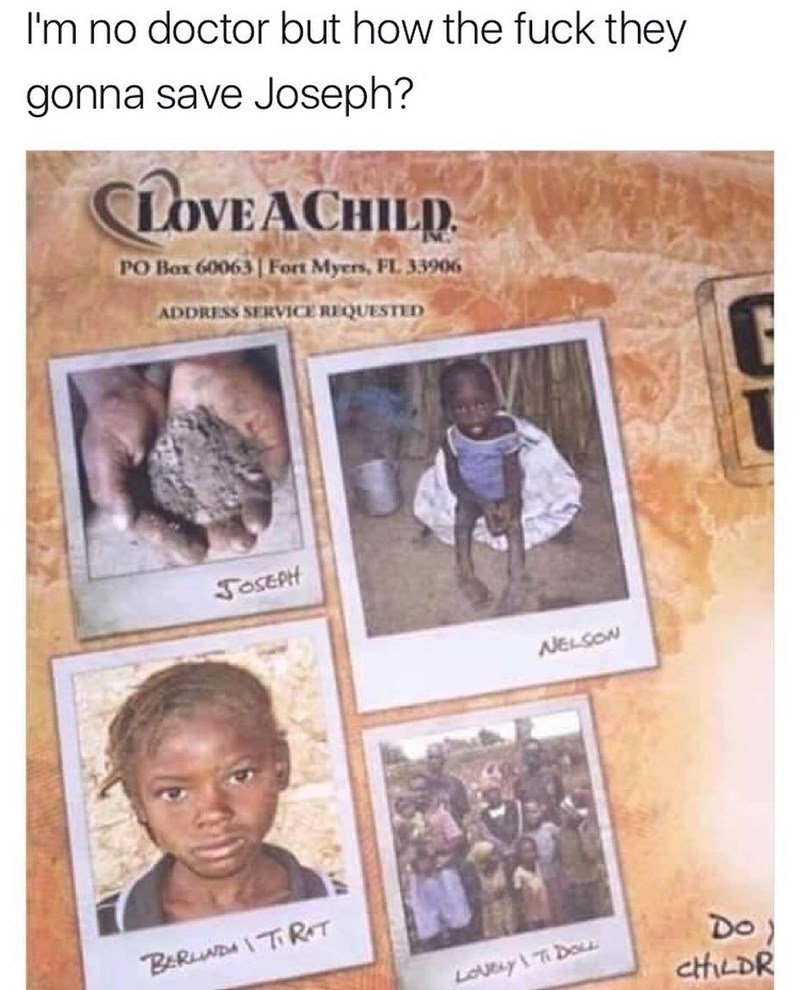 Funny meme about an ad for a childrens charity, one of the photos is a pile of dirt, joke about how nobody can save the pile of dirt or ashes.