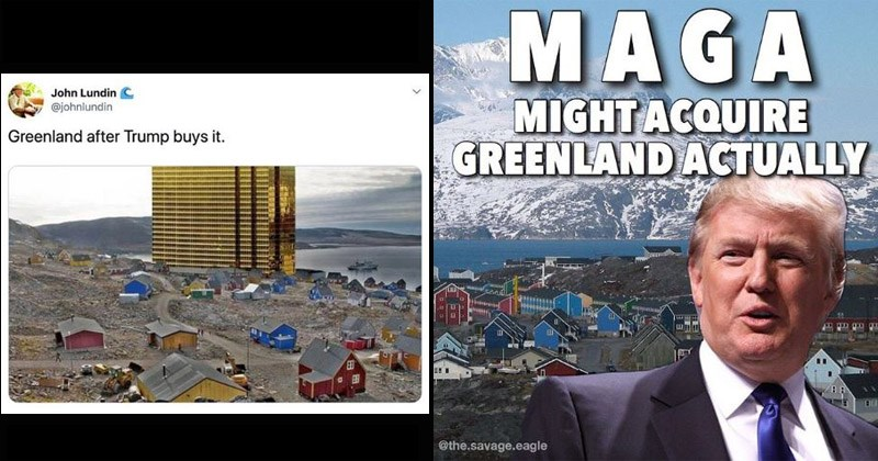 Funny memes about tweets about Trump wanting to purchase Greenland
