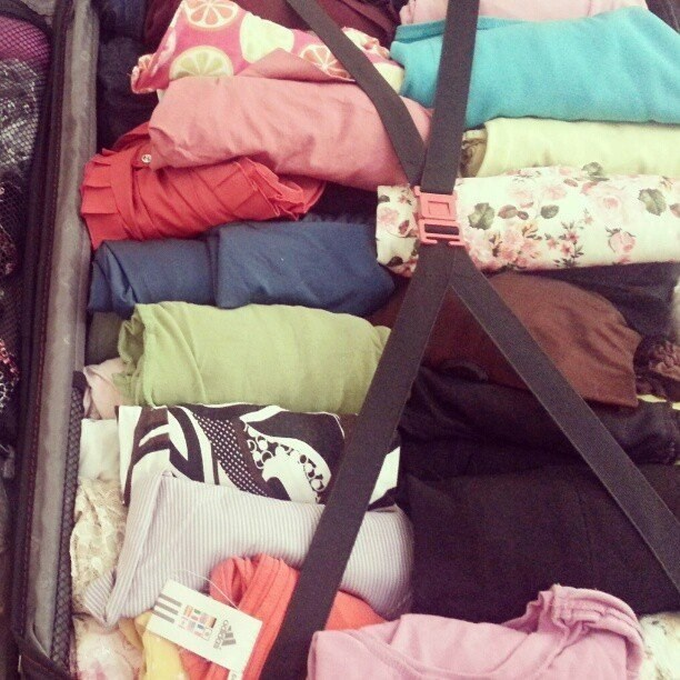 Roll your clothes up nice and tight to take up less space when packing for a trip.