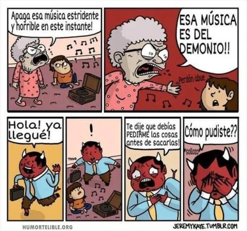 abuela le pide a nieto que apague esa musica del demonio