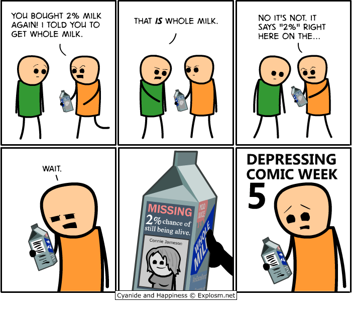 """webcomic - Cartoon - NO IT'S NOT. IT SAYS """"2%"""" RIGHT HERE ON THE.. YOU BOUGHT 2% MILK AGAIN! I TOLD YOU TO GET WHOLE MILK THAT IS WHOLE MILK DEPRESSING COMIC WEEK WAIT MISSING ANCE 2% chance of still being alive Connie Jameson Explosm.net Cyanide and Happiness InAIY MTLI IY"""