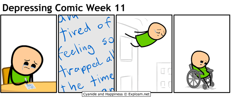 webcomic - Text - Depressing Comic Week 11 ived of Feeling Arapped a the time Cyanide and Happiness Explosm.net