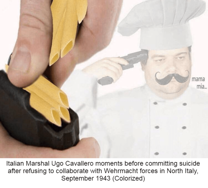 Cook - mama mia.. Italian Marshal Ugo Cavallero moments before committing suicide after refusing to collaborate with Wehrmacht forces in North Italy, September 1943 (Colorized)
