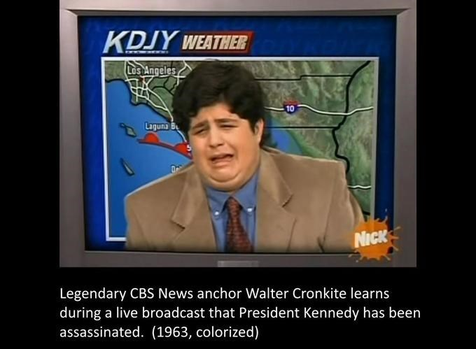 Facial expression - KDJY WEATHER Los Angeles 10 NICK Legendary CBS News anchor Walter Cronkite learns during a live broadcast that President Kennedy has been assassinated. (1963, colorized)