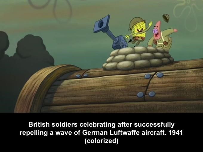 Cartoon - British soldiers celebrating after successfully repelling a wave of German Luftwaffe aircraft. 1941 (colorized)