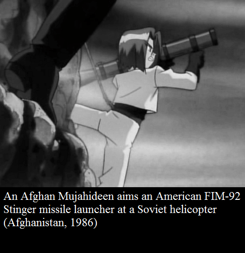 Firearm - An Afghan Mujahideen aims an American FIM-92 Stinger missile launcher at a Soviet helicopter (Afghanistan, 1986)