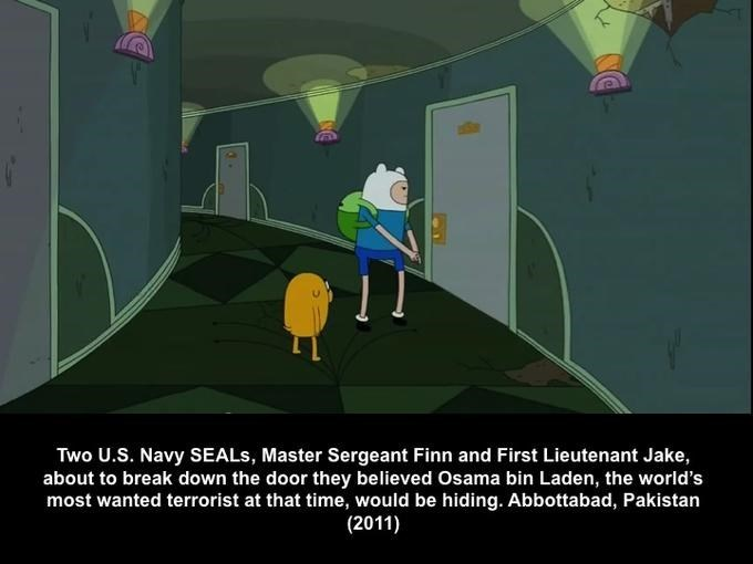 Cartoon - Two U.S. Navy SEALS, Master Sergeant Finn and First Lieutenant Jake, about to break down the door they believed Osama bin Laden, the world's most wanted terrorist at that time, would be hiding. Abbottabad, Pakistan (2011)