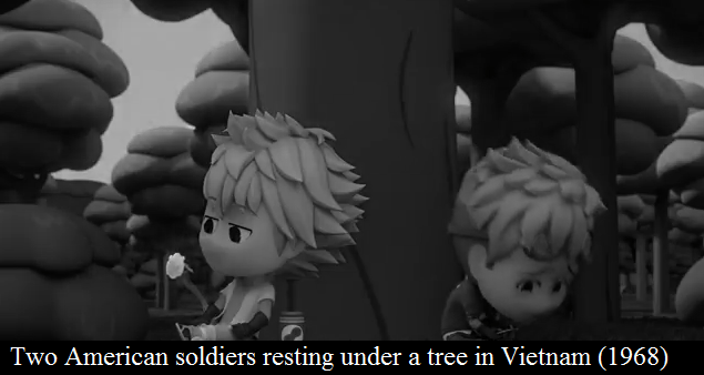Black-and-white - Two American soldiers resting under a tree in Vietnam (1968)