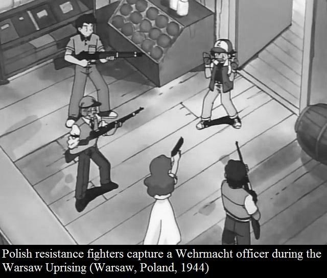 Cartoon - Polish resistance fighters capture a Wehrmacht officer during the Warsaw Uprising (Warsaw, Poland, 1944)